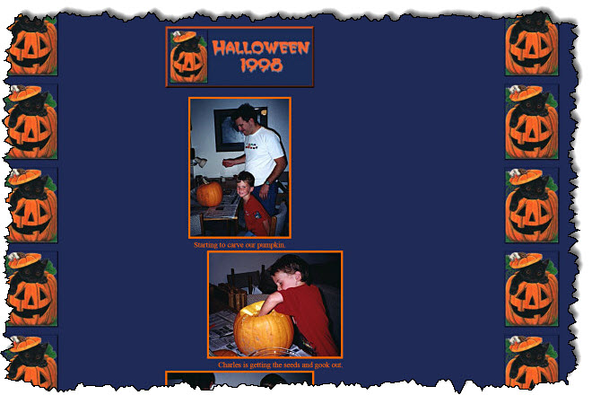 """صورتان لأب وابنه ينحتان قرعًا على قرع """"عيد الهالوين 1998"""" موقع GeoCities."""