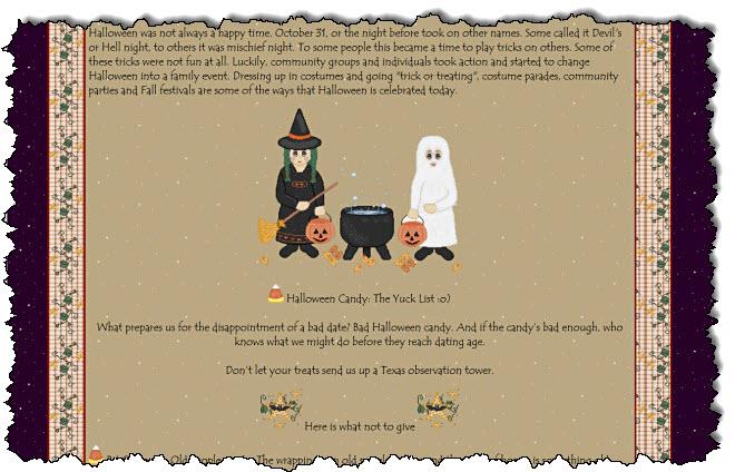 """""""عيد الهالوين: تاريخ موجز"""" على موقع GeoCities الإلكتروني ، توجد خدعة أو صورة علاجية تقف بجوار مرجل."""