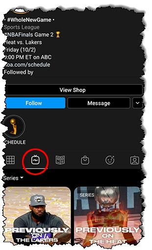 صفحة حساب Instagram TV