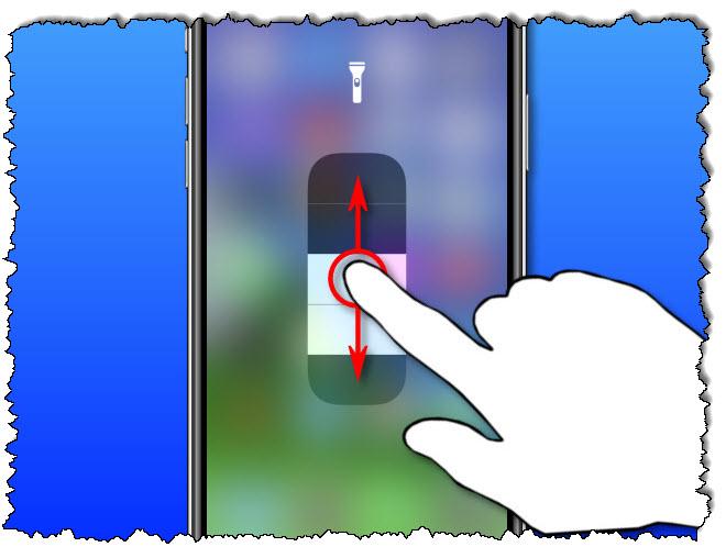 قم بتمرير عدسة الكاميرا على أداة ضبط iPhone لضبط السطوع.