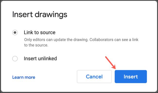 اختر ما إذا كنت تريد ربط الرسومات في محرر مستندات Google