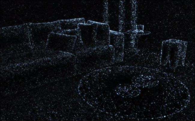 يُظهر الأثاث المحيط إلى حد ما في غرفة المعيشة ما يراه ماسح iPhone LIDAR.