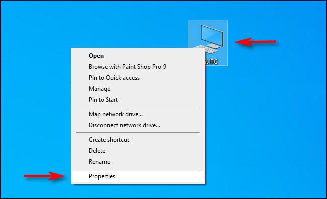 """انقر على اليمين """"هذا الحاسوب"""" أيقونة على سطح المكتب وحدد """"السمات."""""""