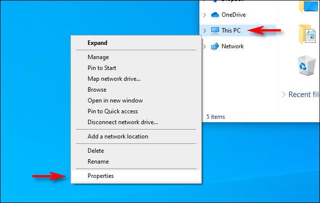 """انقر على اليمين """"هذا الحاسوب"""" في File Explorer ، ثم حدد """"السمات."""""""