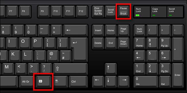 اضغط على Windows + Pause / Interrupt لفتح نافذة