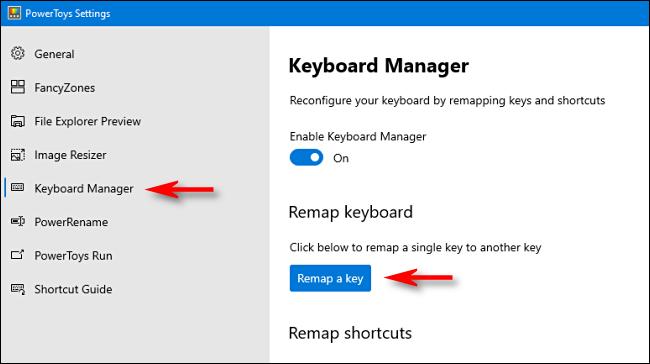 """من فضلك اضغط """"مدير لوحة المفاتيح"""" في الشريط الجانبي وانقر """"أعد تعيين المفتاح."""""""