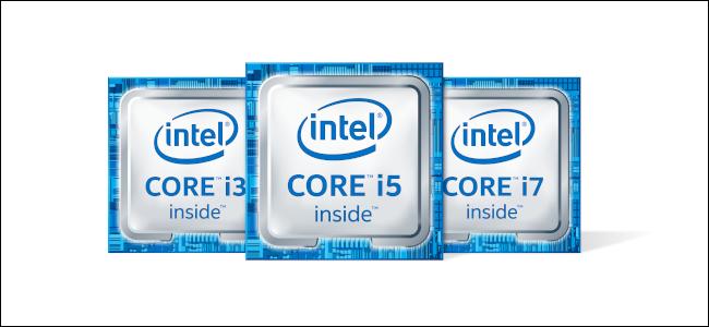 شعارات Intel Core i3 و i5 و i7.