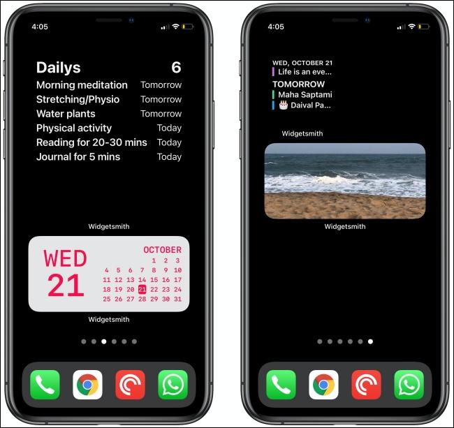 اثنين من أدوات Widgetsmith على جهازي iPhone.