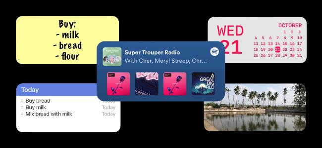 خمس تطبيقات مصغرة للشاشة الرئيسية لجهاز iPhone.