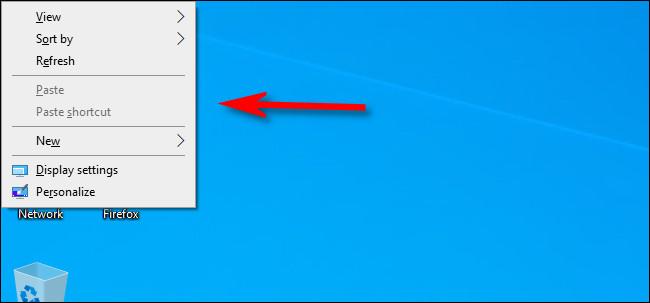 قائمة السياق على سطح مكتب Windows 10.