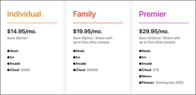 خطة أسعار Apple One