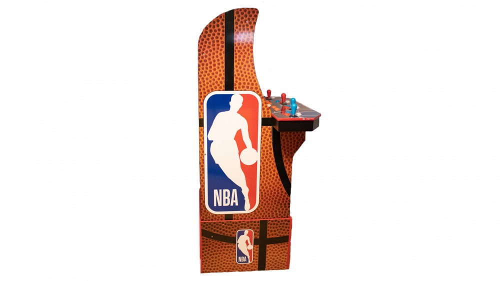 A side view of the NBA Jam machine.