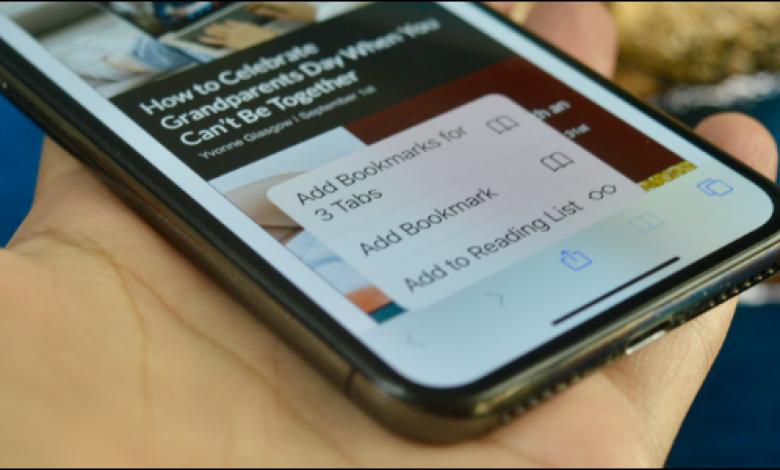 كيفية وضع إشارة مرجعية على علامات تبويب متعددة في Safari على iPhone و iPad