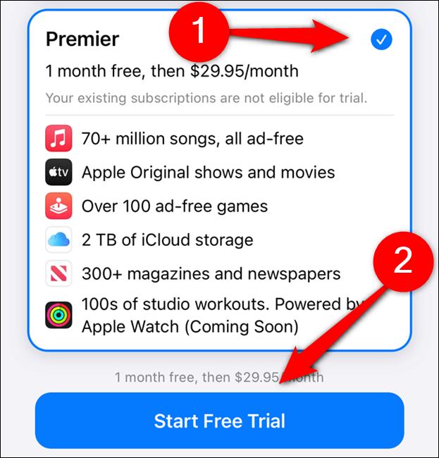 """اختر خطة Apple One ، ثم اختر """"ابدأ نسخة تجريبية مجانية"""""""