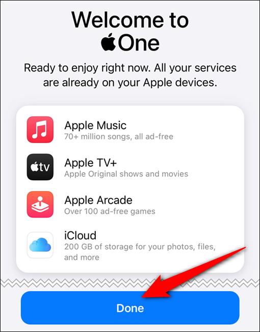 """تم تأكيد اشتراكك في Apple One.صنبور """"تم الانتهاء من"""" أزرار"""