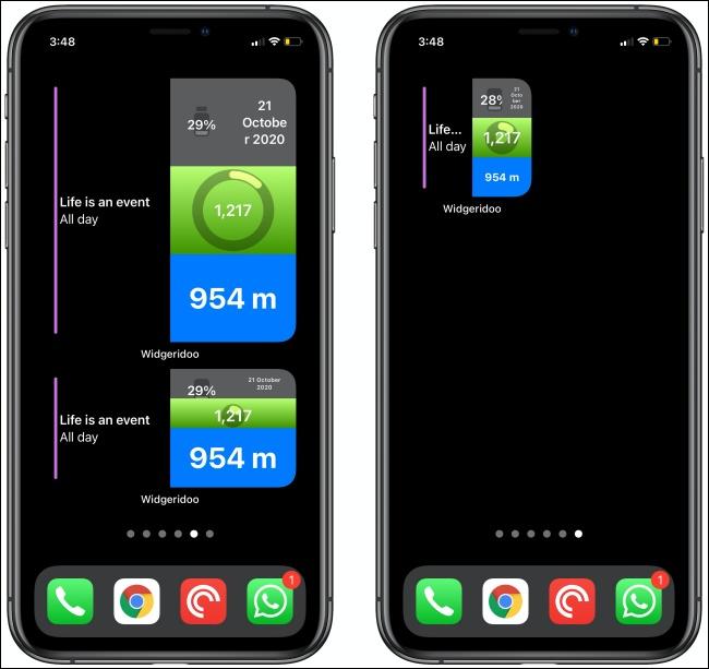 اثنان من عناصر واجهة المستخدم Widgeridoo على جهازي iPhone.