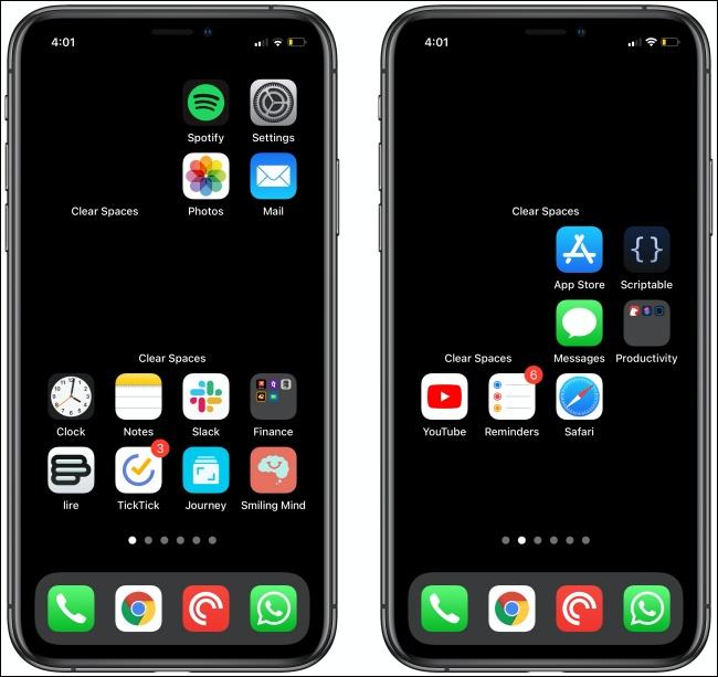 قم بإخلاء المساحات على شاشتى iPhone الرئيسية.