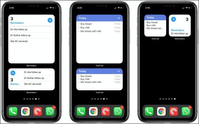 أدوات التذكير و TickTick على ثلاثة أجهزة iPhone.