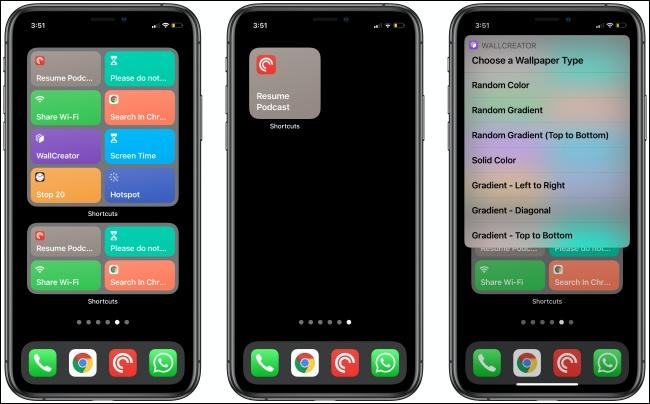 أدوات الاختصار على ثلاثة أجهزة iPhone.