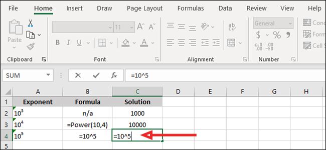 """أدخل الرقم الأساسي والفهرس """"= قاعدة ^ فهرس"""" معادلة."""