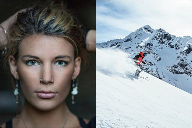 صورة لامرأة على اليسار ورجل يتزلجان على جبل على اليمين.