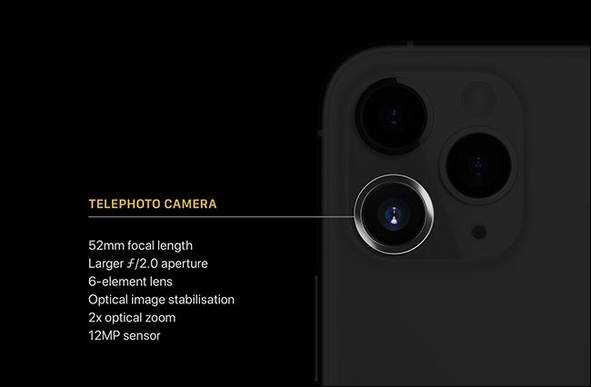 مواصفات العدسة المقربة لهاتف iPhone 11 Pro.