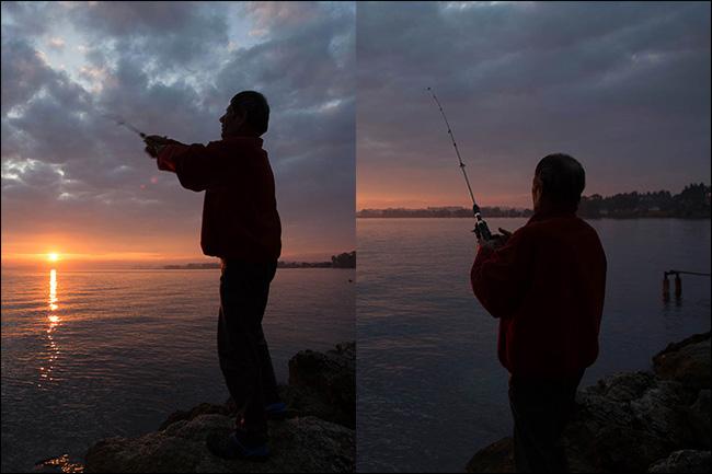 تم التقاط صورتين لشخص يصطاد عند غروب الشمس بأطوال بؤرية مختلفة ، ولكن بنفس القدر من الضوء.