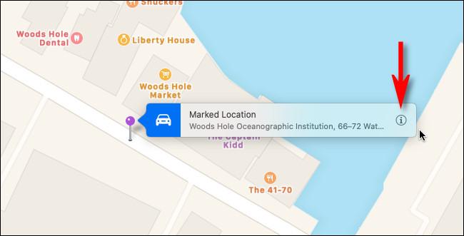 """ضع دبوس التثبيت في خرائط Apple على جهاز Mac الخاص بك وانقر """"معلومات"""" زر."""