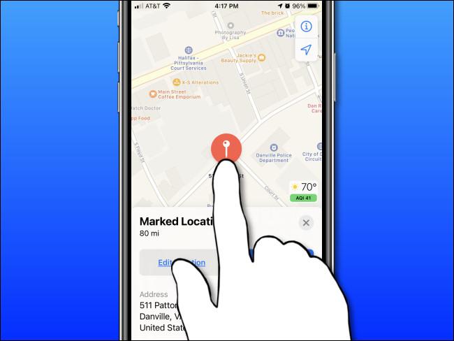 اضغط مع الاستمرار على الشاشة على iPhone أو iPad لإسقاط دبوس التحديد