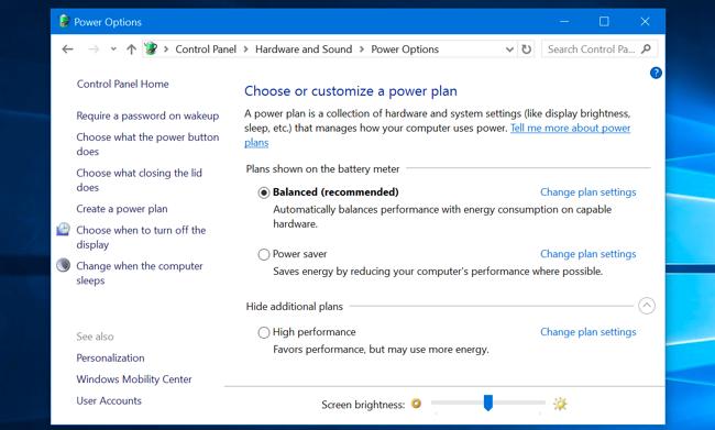 إعدادات خطة الطاقة في لوحة التحكم.