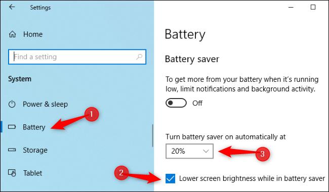 إعداد السطوع لتطبيق Battery Saver في تطبيق