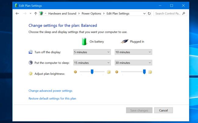 قم بتحرير إعدادات خطة الطاقة في لوحة تحكم Windows 10.