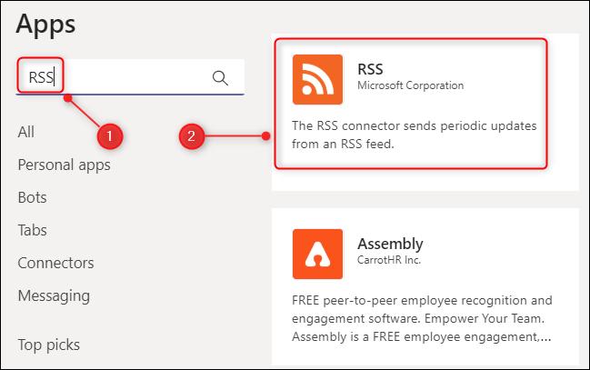 موصل RSS لـ Microsoft Teams.