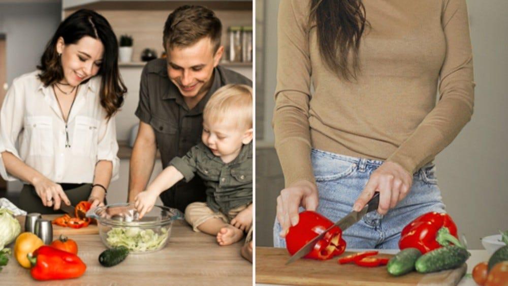 صورتان: الصورة على اليسار عبارة عن عائلة تطبخ معًا ، والصورة على اليمين امرأة تقطع الفلفل الأحمر على لوح تقطيع طاهٍ أخضر.