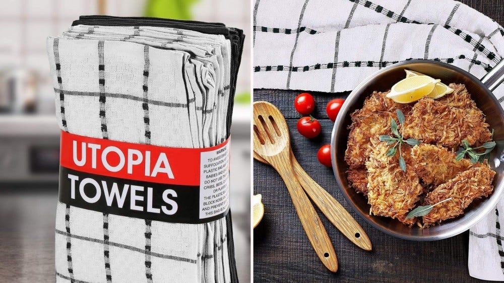 صورتان: الصورة على اليسار عبارة عن مجموعة مناشف Utopia ، والصورة على اليمين هي سمكة قشرة جوز الهند مع منشفة أطباق قريبة.