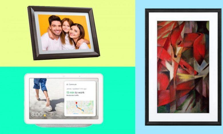 إطار الصور الرقمي Dragon Touch و Google Nest Hub و Meural Canvas II في الصورة المجمعة.