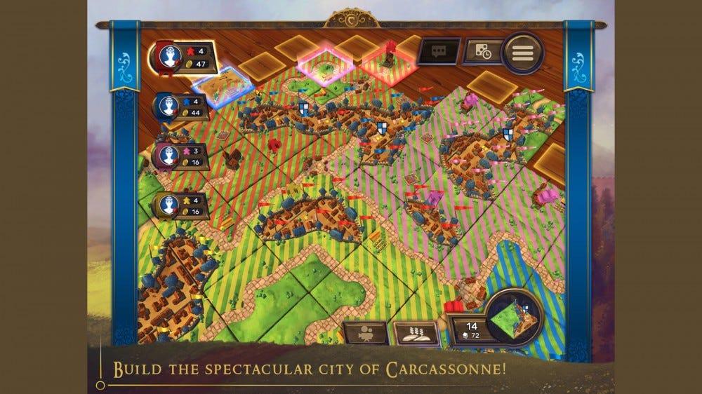 مثال لعبة Carcassonne والبلاط