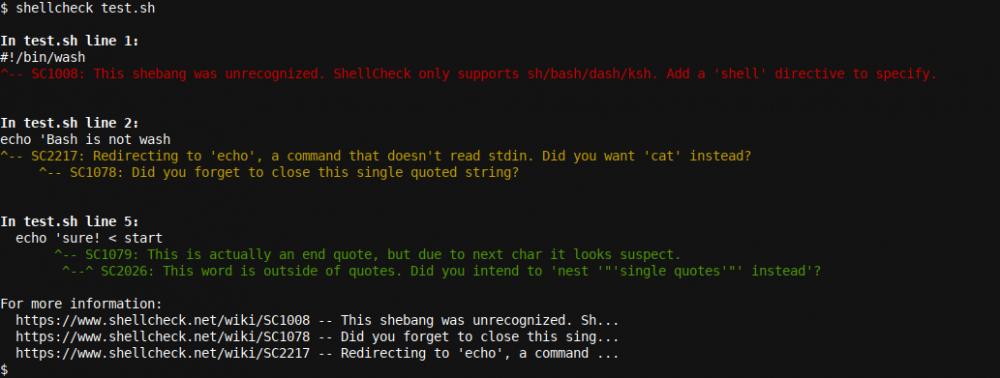 Shellcheck output 1