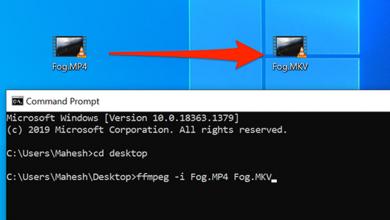 صورة كيفية تحويل ملفات الوسائط باستخدام موجه الأوامر على نظام التشغيل Windows 10