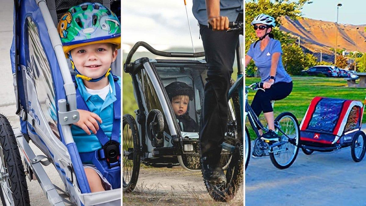مقطورات دراجات مختلفة للأطفال لسحبها.