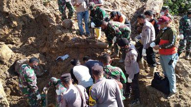 صورة لقي ثلاثة أشخاص على الأقل مصرعهم في انهيار أرضي في سومطرة بإندونيسيا