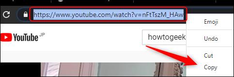 تم تمييز عنوان URL في شريط العناوين.