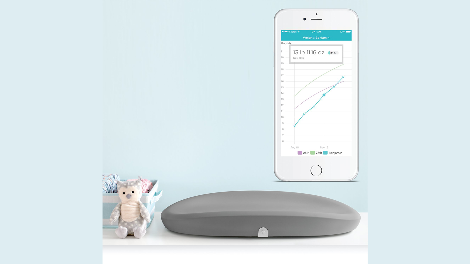 احتضن سجادة التغيير الذكية لنمو الطفل على الطاولة بجانب ألعاب الأطفال اللطيفة وتطبيق الهاتف المصاحب على هاتفك الذكي