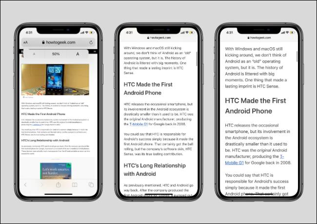 الخطوط الكبيرة والصغيرة في Safari على iPhone