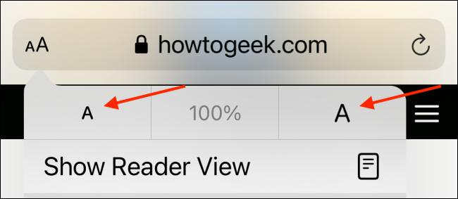 قم بزيادة أو تقليل حجم النص في Safari
