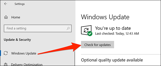 قائمة Windows Update في الإعدادات