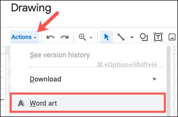 انقر فوق إجراء ، ثم حدد WordArt