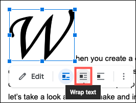 حدد الحروف وانقر فوق التفاف النص