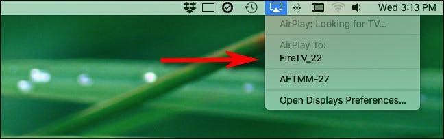 انقر فوق رمز AirPlay وحدد جهاز استقبال AirPlay.