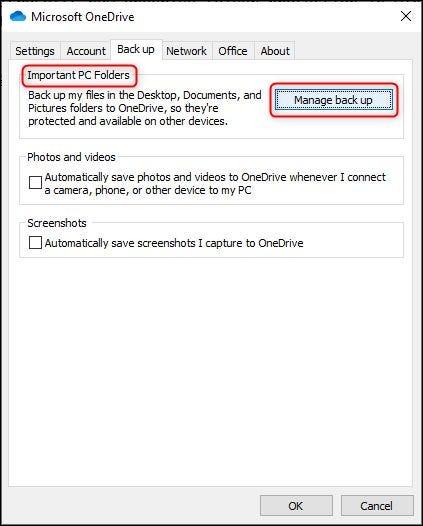 """هذا """"إدارة النسخ الاحتياطية"""" زر في إعدادات OneDrive."""